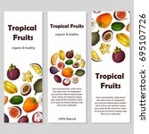 set of organic fruits cards.... | Shutterstock .eps vector #695107726