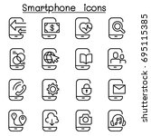 smartphone icon set in thin...   Shutterstock .eps vector #695115385