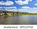 old railway bridge over vistula ...   Shutterstock . vector #695119762