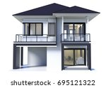 House 3d Modern Rendering On...