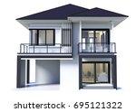 House 3d Modern Rendering On...