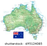 australia   detailed... | Shutterstock .eps vector #695124085
