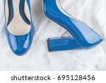 fashionable lacquered leather... | Shutterstock . vector #695128456