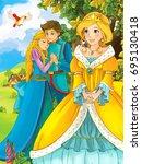 cartoon fairy tale scene with... | Shutterstock . vector #695130418