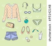 set of drawing female clothes... | Shutterstock .eps vector #695142148