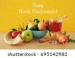 rosh hashanah  jewish new year... | Shutterstock . vector #695142982