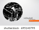 silhouette of volleyball ball.... | Shutterstock .eps vector #695143795