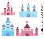 collection of medieval castles... | Shutterstock .eps vector #695144602