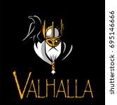 scandinavian god odin vector | Shutterstock .eps vector #695146666