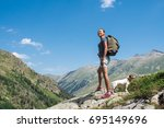 beauty young woman travel with... | Shutterstock . vector #695149696