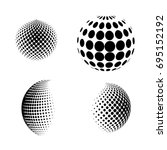 set of abstract round 3d black... | Shutterstock .eps vector #695152192