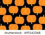 ripe pumpkin on a black... | Shutterstock .eps vector #695162368