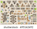 vector set of office. people at ... | Shutterstock .eps vector #695162692
