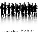 silhouette people dancing ... | Shutterstock . vector #695165752