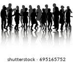 silhouette people dancing ... | Shutterstock . vector #695165752
