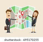 business man and woman stand... | Shutterstock .eps vector #695170255