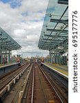 Small photo of 12th August 2017, London, England, View along DLR rail lines