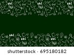 horizontal seamless border with ... | Shutterstock . vector #695180182