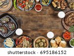 food frame. different foods... | Shutterstock . vector #695186152