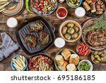 outdoors food concept.... | Shutterstock . vector #695186185