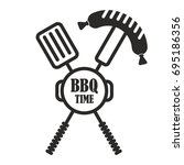 bbq logo. flat vector cartoon... | Shutterstock .eps vector #695186356
