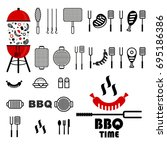 bbq big set. flat vector... | Shutterstock .eps vector #695186386