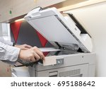 man hand hold card for scanning ... | Shutterstock . vector #695188642