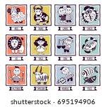set illustration with cartoon... | Shutterstock .eps vector #695194906