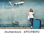 one woman wearing a t shirt and ... | Shutterstock . vector #695198092