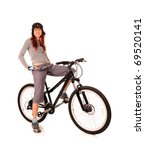 bicyclist woman isolated on white - stock photo