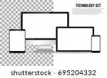 technology set. vector  | Shutterstock .eps vector #695204332