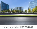 empty road with modern business ... | Shutterstock . vector #695208442