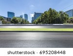 empty road with modern business ... | Shutterstock . vector #695208448