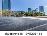 empty floor with modern...   Shutterstock . vector #695209468