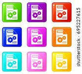 web setting icons of 9 color... | Shutterstock . vector #695227615