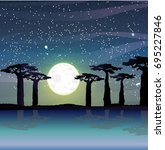 silhouettes of baobabs on the... | Shutterstock .eps vector #695227846