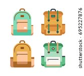 colorful set of backpacks in... | Shutterstock .eps vector #695227876