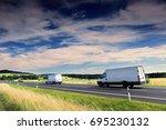 van truck on the road | Shutterstock . vector #695230132