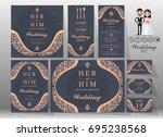 wedding invitation card... | Shutterstock .eps vector #695238568