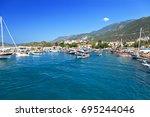 town kas  mediterranean coast ... | Shutterstock . vector #695244046