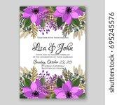 poinsettia wedding invitation... | Shutterstock .eps vector #695245576
