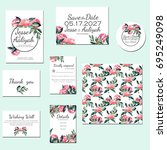 template cards set with... | Shutterstock . vector #695249098
