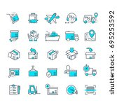 set of color delivery icons for ... | Shutterstock . vector #695253592