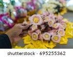 florist is wood sandalwood etc. ... | Shutterstock . vector #695255362