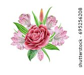 bouquet with watercolors...   Shutterstock . vector #695256208