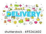 delivery concept with modern... | Shutterstock . vector #695261602