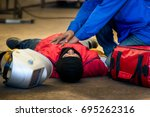 first aid training in the... | Shutterstock . vector #695262316