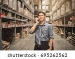 smiling businessman with...   Shutterstock . vector #695262562
