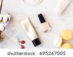 beauty products top view on... | Shutterstock . vector #695267005
