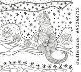 pattern with cat. zentangle.... | Shutterstock .eps vector #695268712